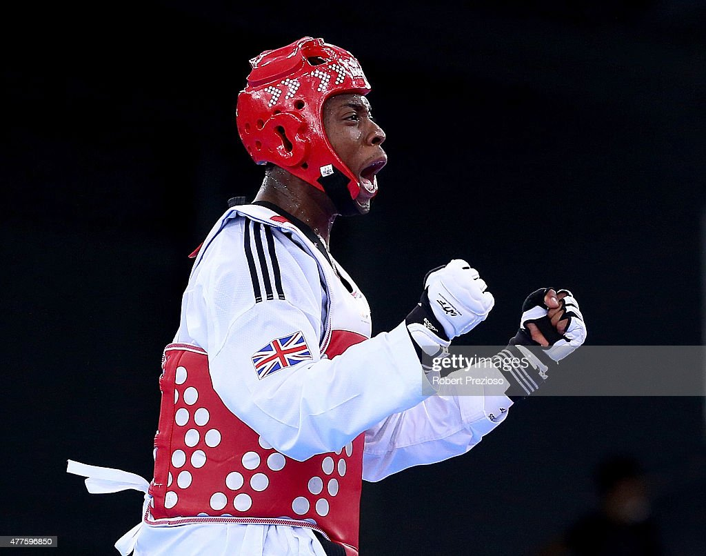 Lutalo Muhammed of Great Britain celebrates winning bronze against Roberto Botta of Italy during the Men's Taekwondo -80kg bronze medal final on day six of the Baku 2015 European Games at the Crystal Hall on June 18, 2015 in Baku, Azerbaijan.