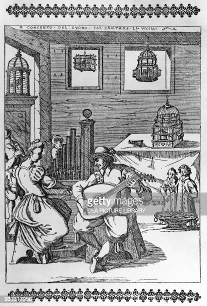 A lute player and a woman playing organ stimulating some nightingales singing in a cage Chapter II illustration for ll Canto de gl'Augelli by Antonio...