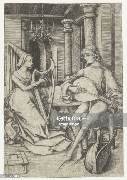 Luteplayer and Harpist Late 15th cen Private Collection