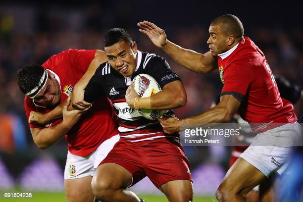 Luteru Laulala of the Barbarians charges forward during the match between the New Zealand Provincial Barbarians and British Irish Lions at Toll...