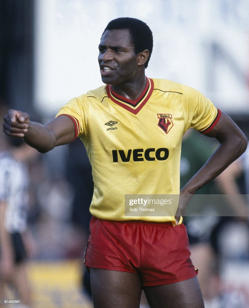 Luther Blissett in action for Watford during their 1st Divison match against Newcastle United, 27th October 1984. The match ended in a 3-3 draw. (Photo by Bob Thomas/Getty Images).