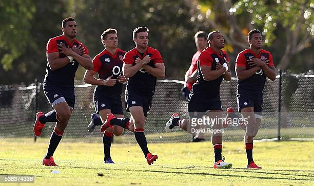 Luther Burrell Henry Slade George Ford Jonathan Joseph and Anthony Watson sprint during the England training session at Sanctuary Cove on June 6 2016...