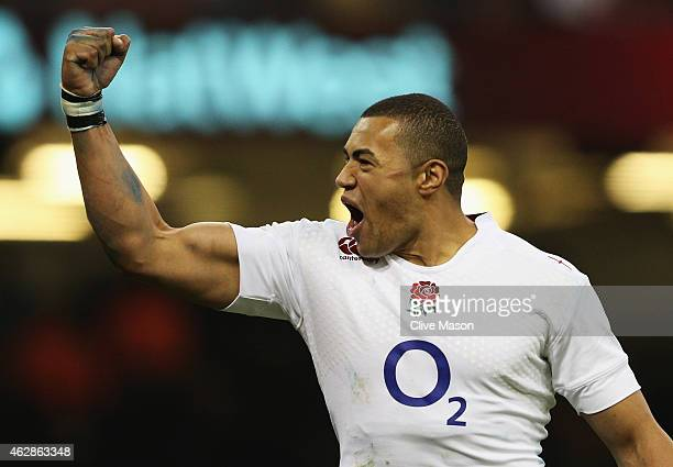 Luther Burrell of England celebrates victory after the RBS Six Nations match between Wales and England at the Millennium Stadium on February 6 2015...