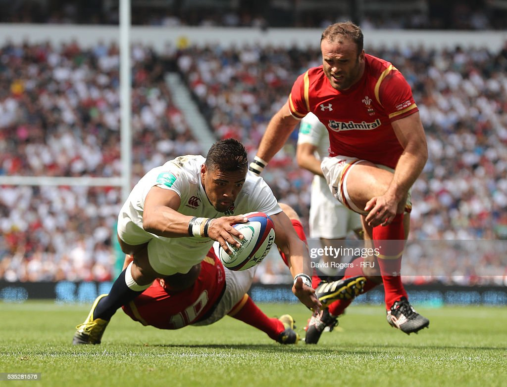 Luther Burrell of England dives over for their first try during the England v Wales International match at Twickenham Stadium on May 29, 2016 in London, England.