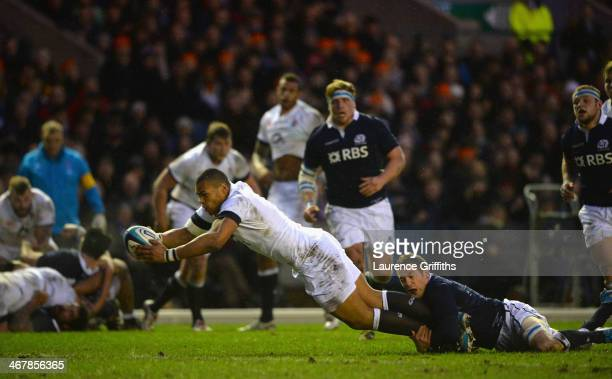Luther Burrell of England scores a first half try during the RBS Six Nations match between Scotland and England at Murrayfield Stadium on February 8...