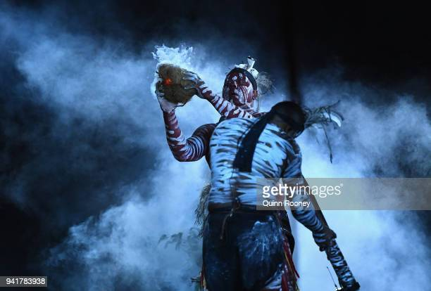 Luther Cora and his family conduct a traditional smoking ceremony during the Opening Ceremony for the Gold Coast 2018 Commonwealth Games at Carrara...