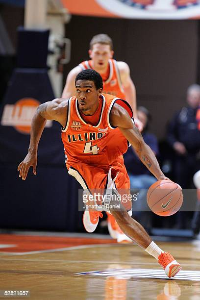 Luther Head of Illinois Fighting Illini chases moves the ball during the game against the Iowa Hawkeyes on January 20, 2005 at the Assembly Hall at...