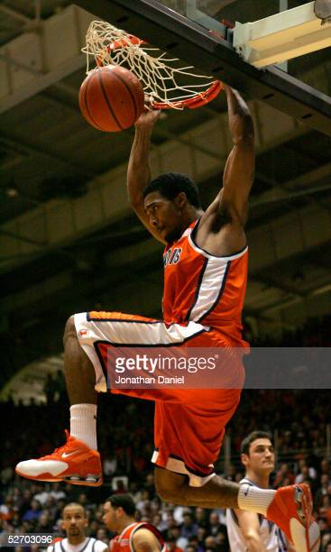 Luther Head of the University of Illinois Fighting Illini slam dunks against the Northwestern University Wildcats during a game on January 15, 2005...