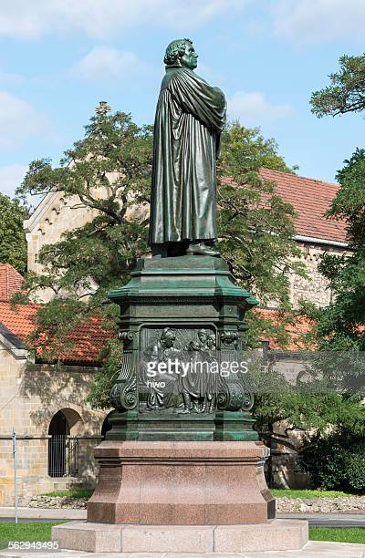 luther memorial, west side, relief of the young luther, bronze, 1895, sculptor adolf von donndorf, renovated state in 2014, eisenach, thuringia, germany - religious occupation stock pictures, royalty-free photos & images