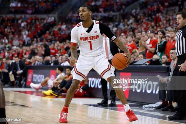 Luther Muhammad of the Ohio State Buckeyes looks to make a move in the game against the Maryland Terrapins at Value City Arena on February 23 2020 in...
