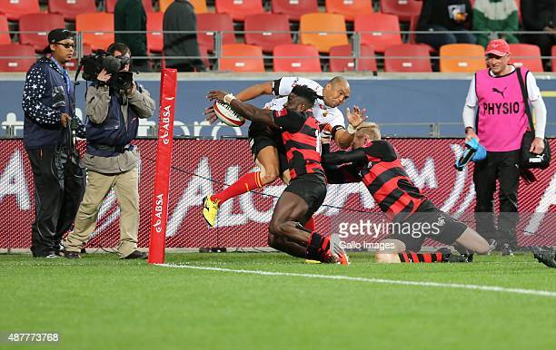Luther Obi of Eastern Province Kings forces Cornal Hendricks of Toyota Free State out of bounds during the Absa Currie Cup match between EP Kings and...