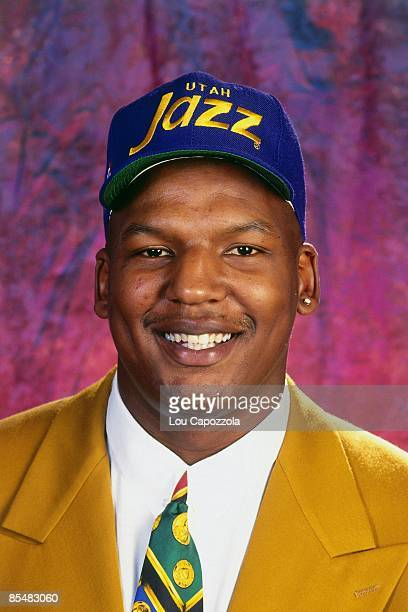 Luther Wright selected number eighteen overall by the Utah Jazz poses for a portrait during the 1993 NBA Draft on June 30 1993 at the Palace of...