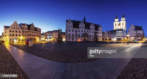 lutherstadt wittenberg - panorama at blue hour (saxony-anhalt, germaany) - saxony anhalt stock pictures, royalty-free photos & images
