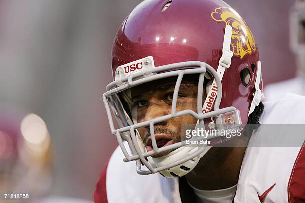 Luthur Brown of the University of Southern California Trojans looks on during warmups before the game against the Arkansas Razorbacks on September 2...