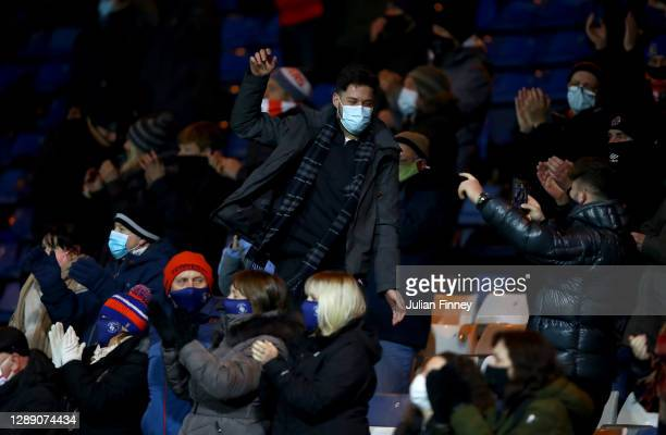 Luton fans celebrate a goal for their team during the Sky Bet Championship match between Luton Town and Norwich City at Kenilworth Road on December...