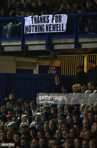 Luton fans show their feelings as Mike Newell manager of Grimsby returns to Kenilworth road during the CocaCola league two match between Luton and...