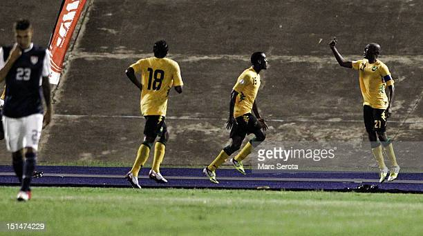 Luton Shelton of Jamaica celebrates a goal with teammates during the United States and Jamaica World Cup Qualifier at National Stadium on September 7...