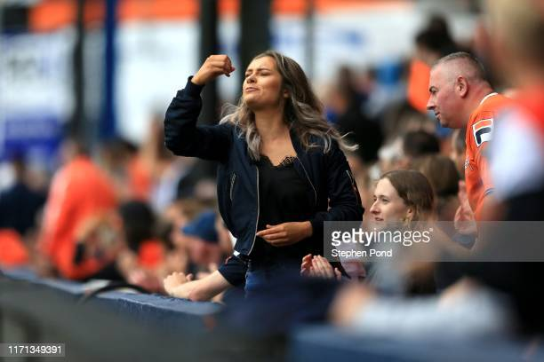 Luton Town fan gestures during the Sky Bet Championship match between Luton Town and Huddersfield Town at Kenilworth Road on August 31, 2019 in...