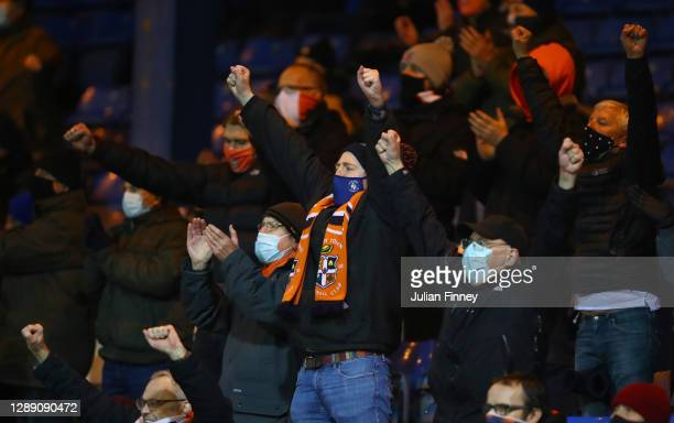 Luton Town fans celebrate victory at full time following the Sky Bet Championship match between Luton Town and Norwich City at Kenilworth Road on...