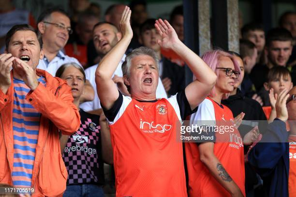 Luton Town fans during the Sky Bet Championship match between Luton Town and Huddersfield Town at Kenilworth Road on August 31, 2019 in Luton,...