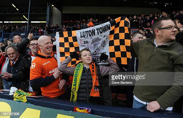 Luton Town fans enjoy the atmosphere before the FA Cup with Budweiser Fifth Round Match between Luton Town and Millwall FC at Kenilworth Road on...