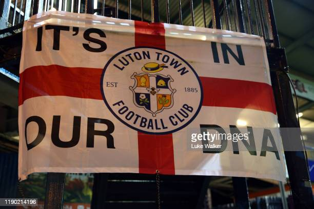 Luton Town flags in the stadium before the Sky Bet Championship match between Luton Town and Charlton Athletic at Kenilworth Road on November 26,...
