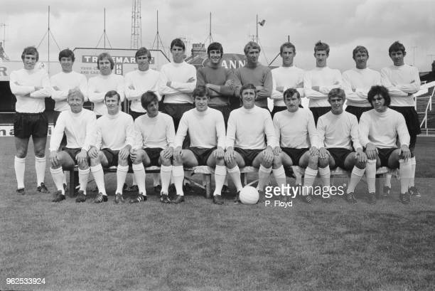 Luton Town Football Club team squad players posed together on the pitch at Kenilworth Road stadium in Luton Bedfordshire at the start of the 197071...
