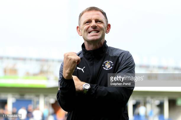 Luton Town Manager Graeme Jones celebrates victory following the Sky Bet Championship match between Luton Town and Huddersfield Town at Kenilworth...