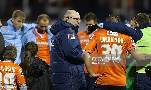 Luton Town manager John Still talks to his players at the end of the match during the Sky Bet League Two match between Luton Town and Northampton...