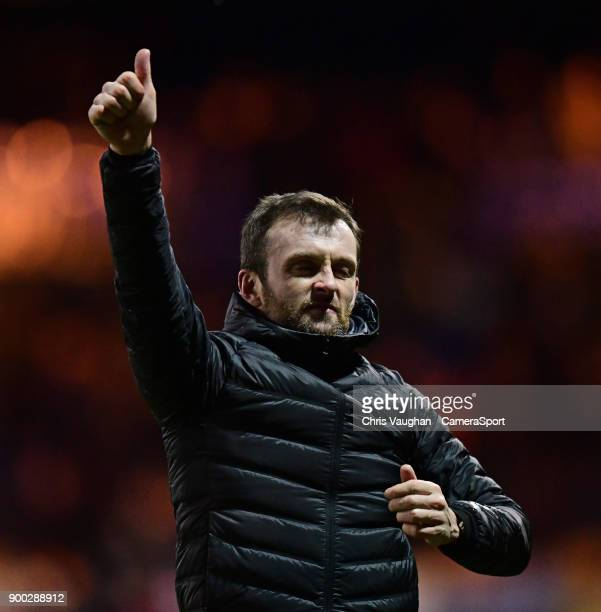 Luton Town manager Nathan Jones applauds the fans following the Sky Bet League Two match between Luton Town and Lincoln City at Kenilworth Road on...