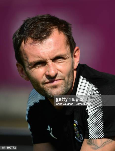 Luton Town manager Nathan Jones during the Sky Bet League Two match between Lincoln City and Luton Town at Sincil Bank Stadium on September 2 2017 in...