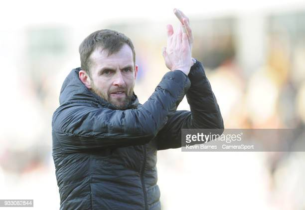 Luton Town manager Nathan Jones during the Sky Bet League Two match betweenNewport County and Luton Town at Rodney Parade on March 16 2018 in Newport...