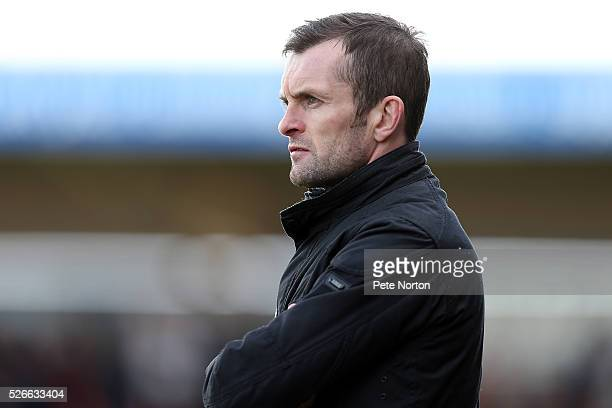 Luton Town manager Nathan Jones looks on during the Sky Bet League Two match between Northampton Town and Luton Town at Sixfields Stadium on April 30...