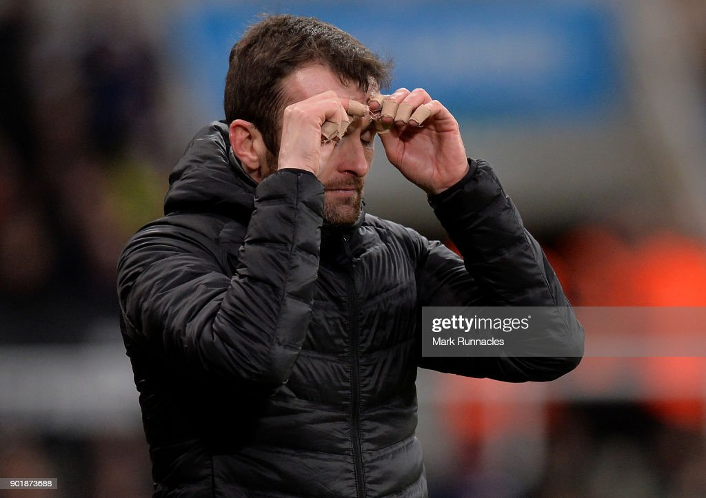 Luton Town manager Nathan Jones looks on from the touch line during the Emirates FA Cup Third Round match between Newcastle United and Luton Town at St James' Park on January 6, 2018 in Newcastle upon Tyne, England.