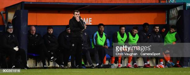 Luton Town manager Nathan Jones watches on from the technical area during the Sky Bet League Two match between Luton Town and Lincoln City at...