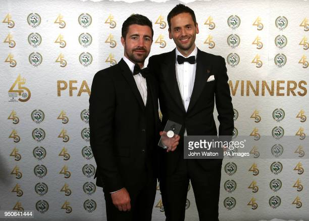Luton Town's Alan Sheehan and PFA chairman Ben Purkiss poses with the PFA League Two Team of the Year award during the 2018 PFA Awards at the...