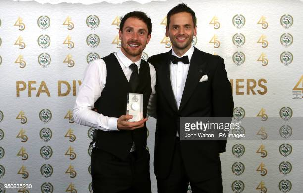 Luton Town's Danny Hylton and PFA chairman Ben Purkiss poses with the PFA League Two Team of the Year award during the 2018 PFA Awards at the...