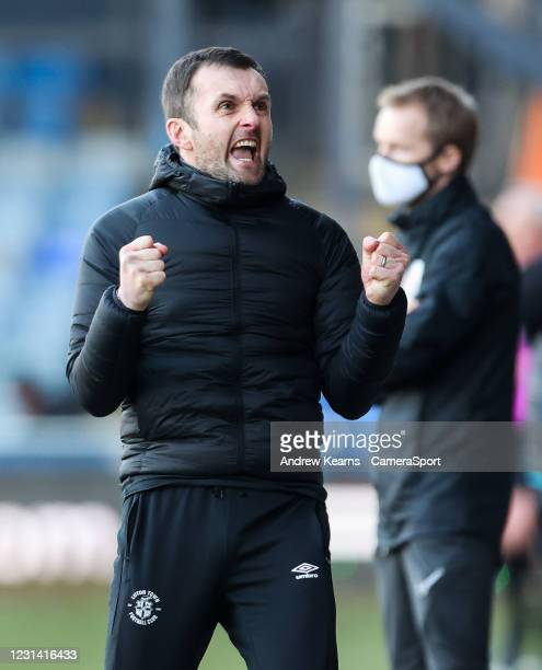 Luton Town's manager Nathan Jones celebrates victory at the end of the match during the Sky Bet Championship match between Luton Town and Sheffield...