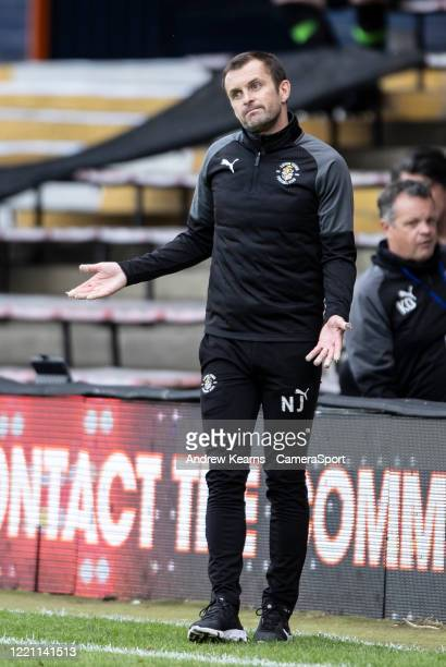 Luton Town's manager Nathan Jones during the Sky Bet Championship match between Luton Town and Preston North End at Kenilworth Road on June 20, 2020...