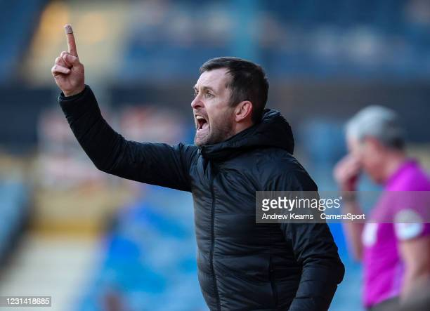 Luton Town's manager Nathan Jones gestures during the Sky Bet Championship match between Luton Town and Sheffield Wednesday at Kenilworth Road on...