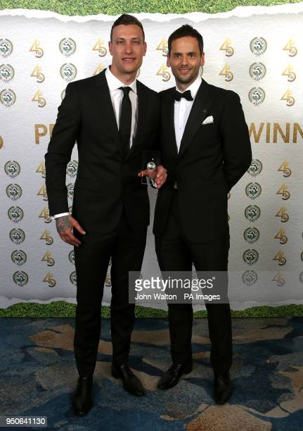Luton Town's Marek Stech and PFA chairman Ben Purkiss poses with the PFA League Two Team of the Year award during the 2018 PFA Awards at the...