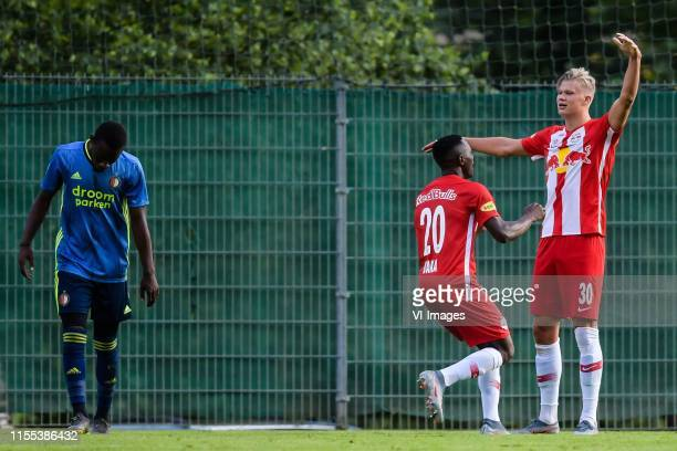 Lutsharel Geertruida of Feyenoord, Patson Daka of Red Bull Salzburg, Erling Haaland of Red Bull Salzburg during the Pre-season Friendly match between...