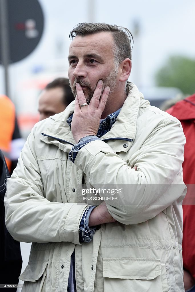 Lutz Bachmann, leader of German right-wing movement PEGIDA (Patriotic Europeans Against the Islamisation of the Occident), attends a rally on June 1, 2015 in Dresden, eastern Germany.