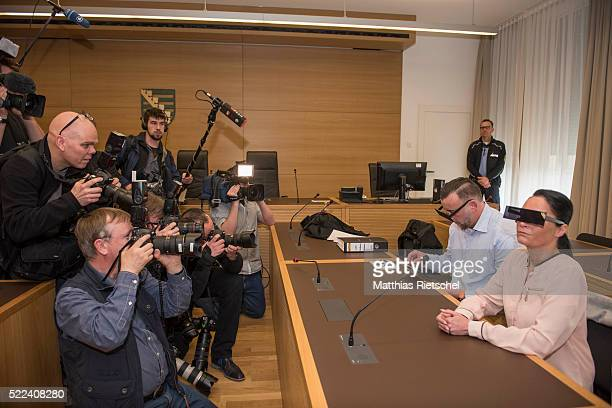Lutz Bachmann wearing black glasses founder of the Pegida movement and his wife Vicky wait for the beginning of the first day of his trial to face...