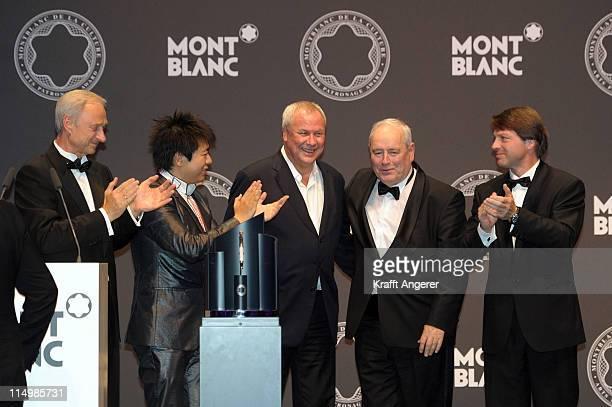Lutz Bethge CEO Montblanc International laudator Robert Wilson award winner Harald Falckenberg Lang Lang chairman of the Montblanc Cultural...
