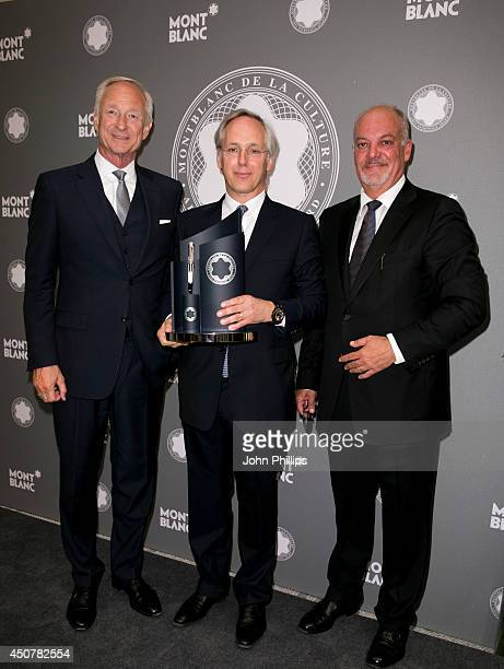 Lutz Bethge Sir Paul Ruddock and Kevin Boltman during the Montblanc De La Culture Arts Patronage Award 2014 at Victoria and Albert Museum on June 17...