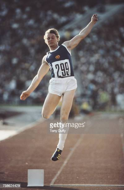 Lutz Dombrowski of East Germany leaps into the air during the Men's Long Jump event at the XXII Olympic Summer Games on 28 July 1980 at the Grand...