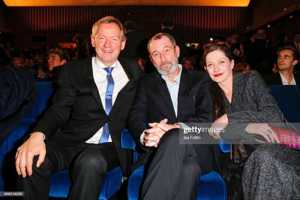 Lutz Marmor, Indendant NDR, austrian actor Heikko Deutschmann and his wife german actress Iris Boehm attend the Deutscher Hoerfilmpreis at Kino International on March 21, 2017 in Berlin, Germany.