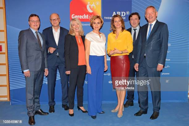 Lutz Marmor Volker Herres Frank Beckmann Joachim Knuth Anja Reschke Sabine Klein and Caren Miosga attend the photo call for ARD theme week...