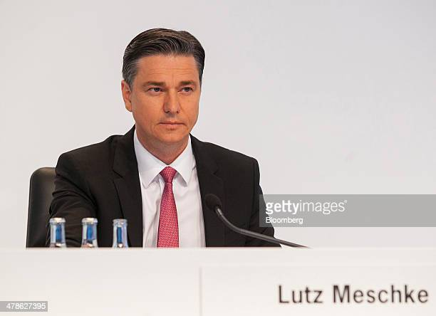 Lutz Meschke chief financial officer of Porsche AG pauses during a news conference to announce the company's fullyear results in Stuttgart Germany on...